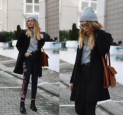Melike Gül - Romwe Coat, Romwe Glasses, Mango Turtleneck, Romwe Jeans, Sheinside Bag, Romwe Boots - Same But Different