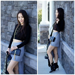 Kimberly Kong - Amiclubwear Lace Up Top, Zara Asymmetrical Skirt, Bcbg Moto Jacket - My Latest Bargain Find from Zara
