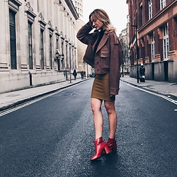Dominique Malinowska - Zara Red Boots, American Apparel Pencil Skirt, Zara Jacket - SUEDE