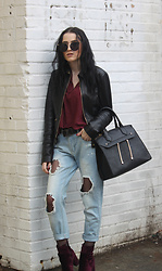 Urszula Makowska - Versace Leather Jacket, Versace Belt, Aldo Handbag, Asos Jeans, Steve Madden Velvet Booties - That Cool Girl