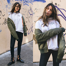 Fadela MECHERI - A.P.C. Hoodie, Schott Bomber, Anine Bing Jeans, Balenciaga Boots - BORN IN THE 80's