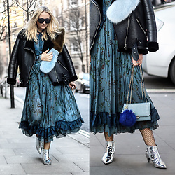 Mad Cat Fashion P. - Zara Shearling Jacket, Zara Studio Dress, Zara Mirror Boots, Bag, Pompom, Zara Faux Fur Scarf, Zara Stone Choker, Zara Sunglasses - London Fashion Week - MyLook #125