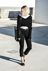 Madelene McGuinness - Interval Wrap Knit, J Brand Serena Flares, Tony Bianco Mules, Céline Cabas Tote - WRAP IT UP