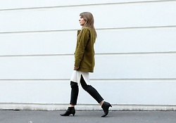 Angharad Jones - Monki Jacket, Theory Dress, Asos Jeans, Zara Shoes - Khaki Jacket at LFW