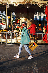 Andreea Birsan - Newsboy Cap, Red Sunglasses, Mint Faux Fur Coat, Light Wash Step Hem Mom Jeans, Adidas Superstar White Sneakers, Yellow Kelly Tote Bag - The mint faux fur coat