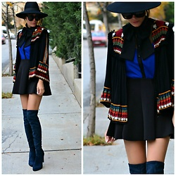 Paris Sue - Sante Knee High Boots, Zara Cardigan, H&M Hat, Sheinside Skirt - Tell me that you love me more than hate me