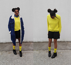Yara Snow'z - Bershka Denim Overcoat, H&M Yellow Sweater - Yellow, again