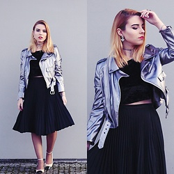 Carina Gonçalves - Zaful Jacket, Bershka Crop Top, Pull & Bear Skirt, Zara Shoes - So here I go to the eye of the storm, Just to feel your love