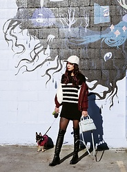 Maria P - Aliexpress White Suede Baseball Cap, Topman Black & White Striped Sweater, Topshop Burgundy Bomber Jacket, Zaful Blue Crossbody Bag, Aliexpress Black Over The Knee Boots - Sporty stripes