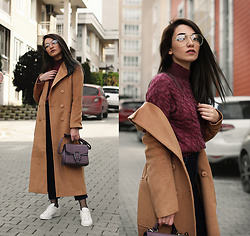 Melike Gül - Jollychic Coat, Sheinside Sweater, Zerouv Glasses, Jollychic Bag, Adidas Sneakers - Camel Maxi Coat