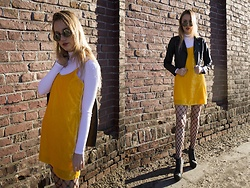 Patrycja Kołosowska - Zara Yellow Dress, Missguided White Sweater, Born2be Boots, Zara Jacket, Rossmann Choker - YELLOW