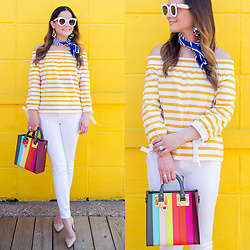 Jenn Lake - J. Crew Yellow Stripe Off Shoulder Top, Sophie Hulme Rainbow Stripe Bag, Paige Denim White Skinny Ankle Jeans, Manolo Blahnik Bb Pump, Banana Republic Blue Neck Scarf, Baublebar Caicos Pom Pom Drop Earrings, Celine White Marta Sunglasses - J. Crew Yellow Stripe Off Shoulder Top