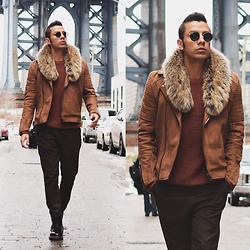 Franko Dean - Asos Suede Biker Jacket, Zara Wide Trousers, Dr. Martens Classic Boots, Ray Ban Round Sunglasses, H&M Faux Fur Collar - Collar and suede...