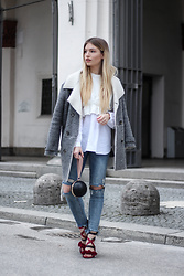 Franziska Elea - Zara Coat, Zara Blouse, & Other Stories Bag, Zara Jeans, Mime Et Moi Heels - Spring on my feet
