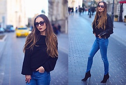Aliz M - Zara Off The Shoulder Sweater, Aldo High Heel Ankle Boots, Zara Leather Jacket - Off The Shoulder Sweater