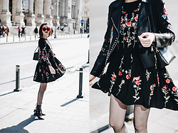 Andreea Birsan - Floral Embroidered Dress, Embroidered Leather Jacket, Piper S Leather Shoulder Bag, Lace Up Cut Out Shoes, Red Sunglasses, Fishnet Tights - How to wear a floral embroidered dress with fishnet tights