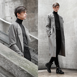 Georg Mallner - Balenciaga Boots, Cos Turtleneck, Asos Coat, Allsaints Pants - February 27, 2017