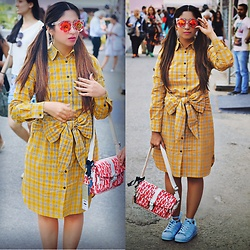 Surbhi Suri - Label Tff Shirt Dress, Adidas Sneakers, Elle Fashion Bag, Platinum Mall Bangkok Sunglasses - PLAID up