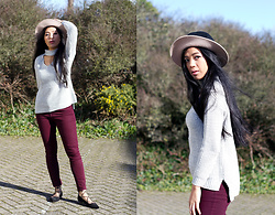 Mariel Parton - H&M Hat, Primark Cut Out Sweater, Topshop Burgundy Skinny Jeans, Primark Lace Up Pointed Flats - Cut-out Sweater