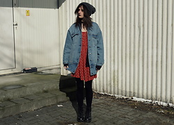 Pepper B. - Pull & Bear Jacket, New Look Red Dress, Dr. Martens Boots - Red dress on today