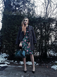 Larissa - Sheinside Velvet Floral Dress, Grey Coat, Dark Green Leather Bag, Dark Green Leather Heels - Elegance