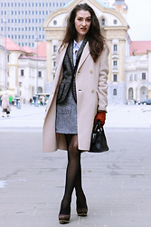 Veronika Lipar - Storets Tweed Mini Skirt, Michael Kors High Heels, Dkny Mini Black Bag, Maxmara Ivory Double Breasted Coat - How to wear the mini skirt to office if you are 20 somet