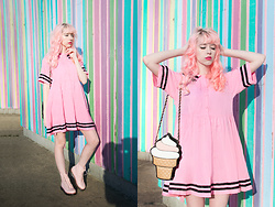 Kailey Flyte - Lazy Oaf Sailor Dress, Modcloth Ice Cream Purse, Forever 21 Pink Boots - Fruit Stripe