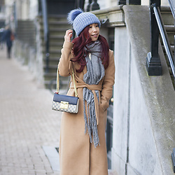 Lily T - Topshop Blue Beanie - RED HAIR