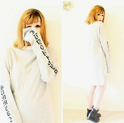 Rachel-Marie - Unbranded Tattoo Choker, Shein Grey Letter Print Cowl Neck High Low Sweatshirt Dress, Unbranded Black Sneaker Wedges - Remain Calm