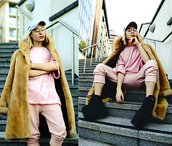 Milex X - New Look Hat, Vintage Fur, H&M Glasses, Brooklyn Supply Top, Bone Clothing Pants, Buffalo Platforms - BACK TO PINK