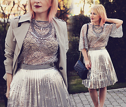 Anca Varsandan - Rosegal Metallic Skirt, Zara Bell Sleeve Top, Mirina Collections Statement Necklace, Stradivarius Bag, Marks & Spencer Trench - Metallics