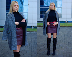 Kate F - Dresslily Sweater, Dresslily Skirt, Zaful Thigh Boots, Shein Coat - Leather Skirt