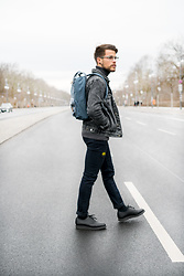 Kevin Elezaj - Dr. Martens Shoes, Cheap Monday Jeans, Hazebury Jacket, Eastpak Bag, Eyes And More Glasses - Backpacker