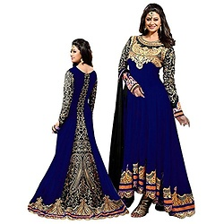 Shopp ETail -  - Womens Blue Georgette Attractive Indo-Western Dress Material
