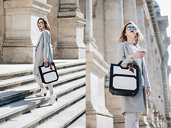 Andreea Birsan - Dual Tone Tote Bag, Grey Slim Fit Coat, Grey Trousers, Mirrored Sunglasses, White Leather Ankle Boots, Frill Hem White Shirt - Where to find the best stand-out dual tone tote bag