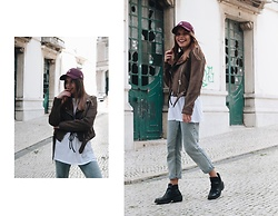 Mariana Galhardas - New Era Baseball Hat, Pull & Bear Jeans, Zara Boots, Bershka Shirt, Zara Jacket - February Summer