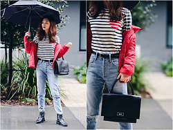 Qianwen Chen - J. Crew Striped Shirt, Citizens Of Humanity High Rise Classic Fit Jeans, J. Crew Striped Shirt, Citizens Of Humanity High Rise Classic Fit Jeans - Rainy Day