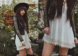 Indiefoxx - Tartcollection Jacket, Freepeople Wide Brim Hat - Those Edgy Boho Vibes