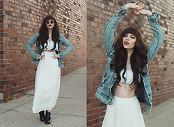 Indiefoxx - Charlotte Russe Skirt, Charlotte Russe Top, Forever21 Denim - Denim and White