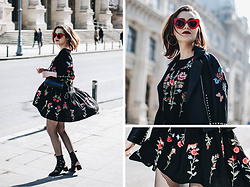 Andreea Birsan - Red Cat Eye Sunglasses, Floral Embroidered Dress, Mini Piper S Crossbody Bag, Embroidered Leather Jacket, Lace Up Cut Out Shoes - How to wear a floral embroidered dress
