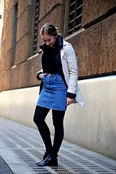 Maria Dinca - Pimkie Trench Coat, Hugo Boss Puffer Jacket, Karen Millen Turtleneck, Vintage Denim Skirt, Asos Patent Shoes - 'Layering', or how to cover a food baby