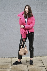 Hollie .S. - New Look Jacket, Zara Pvc Trousers, Puma Trainers, Fendi Bag - The Power of Pink