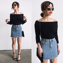 Elizabeth Strecher - Banana Republic Off Shoulder Knit, H&M Denim Mini, Steve Madden Heels, Ray Ban Sunglasses - Date Night ?