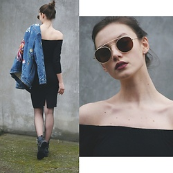 Maria Joanna - Pull & Bear Jacket, Zara Off Shoulder Dress, Zara Boots, Wearmepro Sunglasses - Poker face
