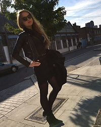 Maria * - One Teaspoon Soho Dress, Horace Leather Biker, One Teaspoon Belt, Religion Coat, Ash Footwear Boots, Wolford Tights - Spring is upon us!