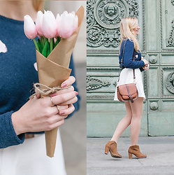 Cristina Siccardi - Bershka White Dress, H&M Diyed Blue Cardigan, Accessorize Brown Leather Shoulder Bag, Stradivarius Brown Suede Ankle Boots - Reese Witherspoon Inspired Outfit: Heart patterned