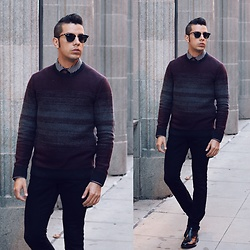Franko Dean - Ray Ban Clubmasters Sunglasses, Alfani Knit Sweater, Zara Skinny Jeans, Kenneth Cole Chelsea Boots - Week is over...