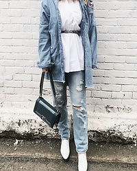 WMwatchme - Zara Denim Jacket, Forever 21 Jeans, Jeffrey Campbell Shoes White Loafers, Chanel Le Boy Bag - Denim on denim
