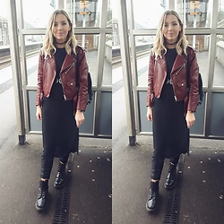 Natasha B - Zara Red Faux Leather Jacket, Dr Martens Doc Boots, H&M Longlength Grey Top, H&M Faux Leather Black Joggers - Docs Rock