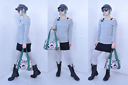 Suzi West - D&Y Hat, Grease Rags Clothing Company Sunglasses, Suzi West Model Earrings, Erst Wilder Camera Brooch, Levi's® Fold Over Top, Harajuku Lovers Purse, Forever 21 Bodycon Dress, Xhilaration Leggings, Steve Madden Boots - 06 February 2017